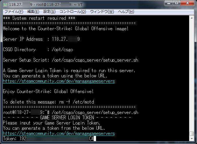 SSH CS:GOのログイントークン入力完了