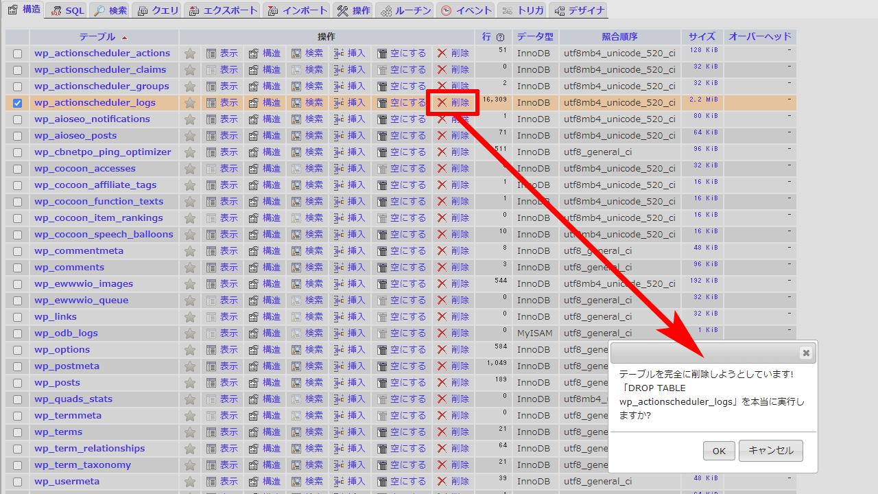 phpMyAdmin actionscheduler_logsの削除